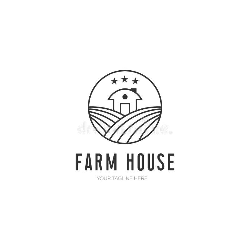 Ejemplo del vector de la casa de la granja, diseño minimalista con la línea estilo del arte libre illustration