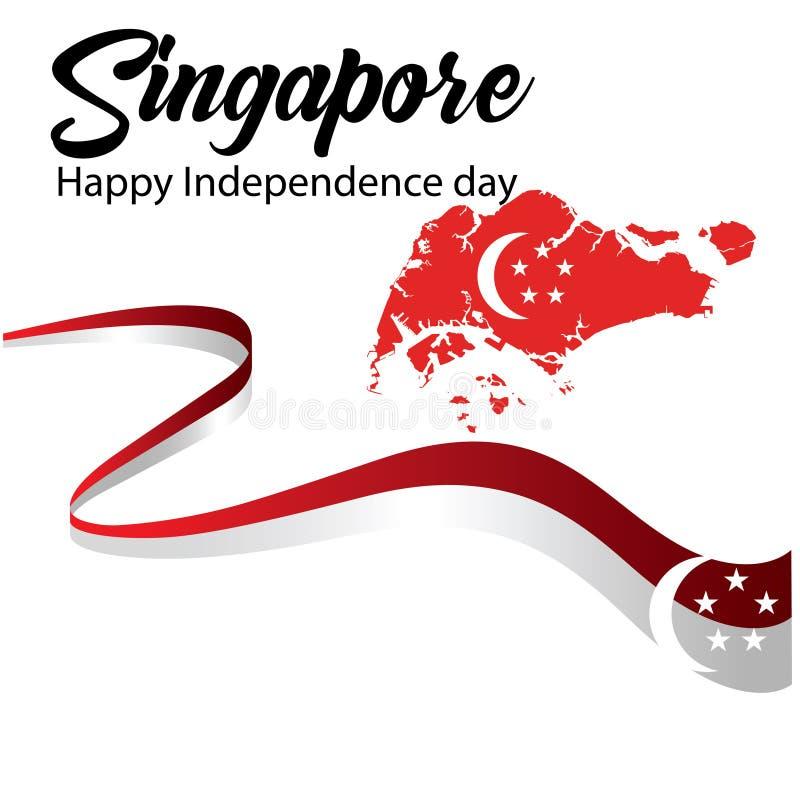 Ejemplo del vector de la celebración del Día de la Independencia de Singapur ilustración del vector