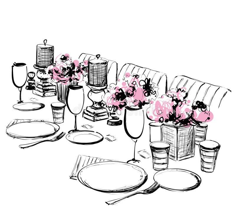 Ejemplo del vector de la cena del día de fiesta E Comida y bebida libre illustration