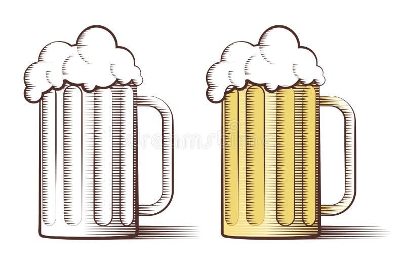 Ejemplo del vector de la cerveza en estilo grabado ilustración del vector