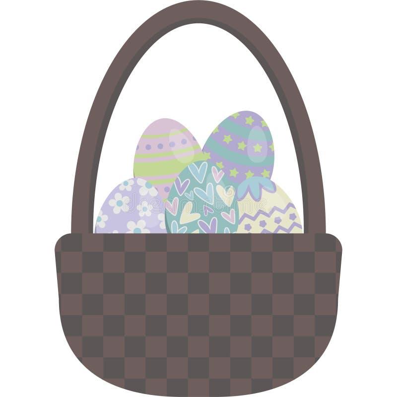 Ejemplo del vector de la cesta del huevo de Pascua stock de ilustración