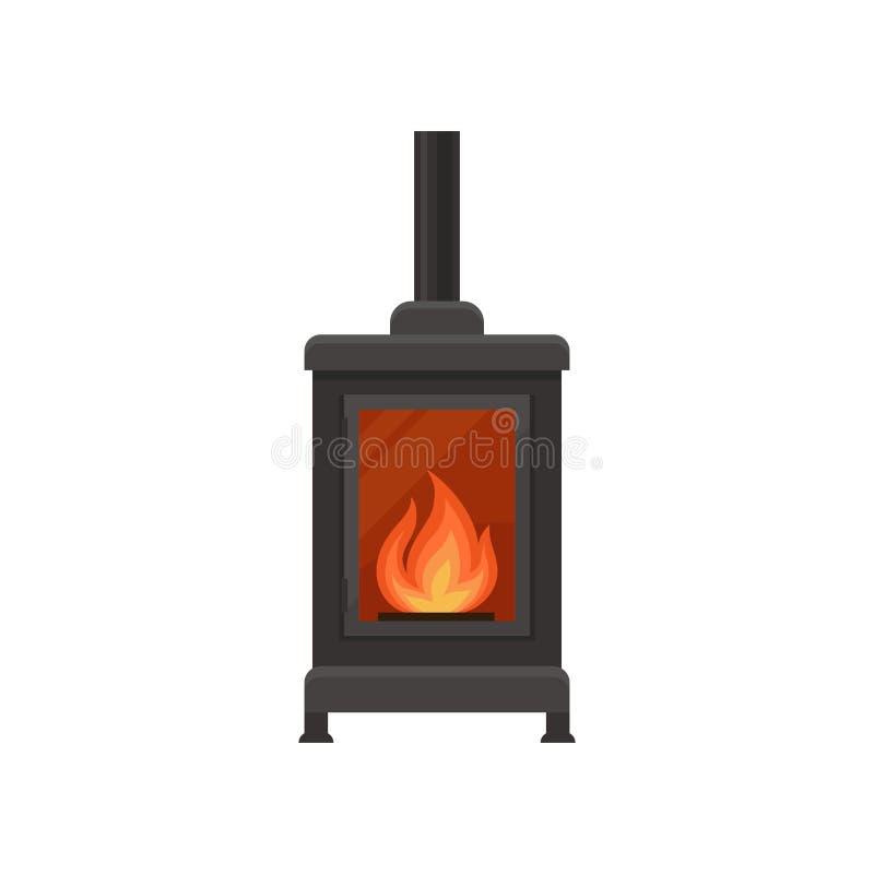 Ejemplo del vector de la chimenea del arrabio del vintage en un fondo blanco ilustración del vector