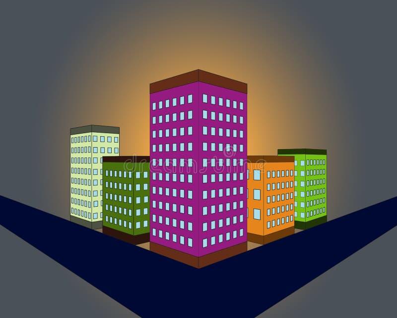 Ejemplo del vector de la ciudad de la noche con los edificios Fondo del paisaje urbano en estilo plano Silueta del horizonte Vist stock de ilustración