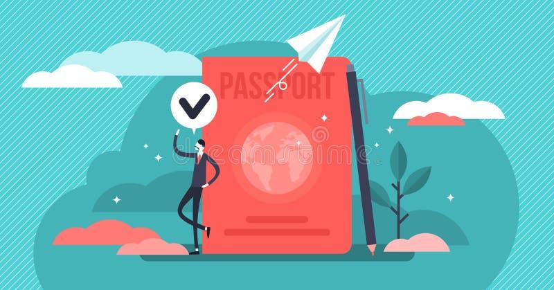 Ejemplo del vector de la ciudadanía Concepto minúsculo plano de las personas del pasaporte del país stock de ilustración