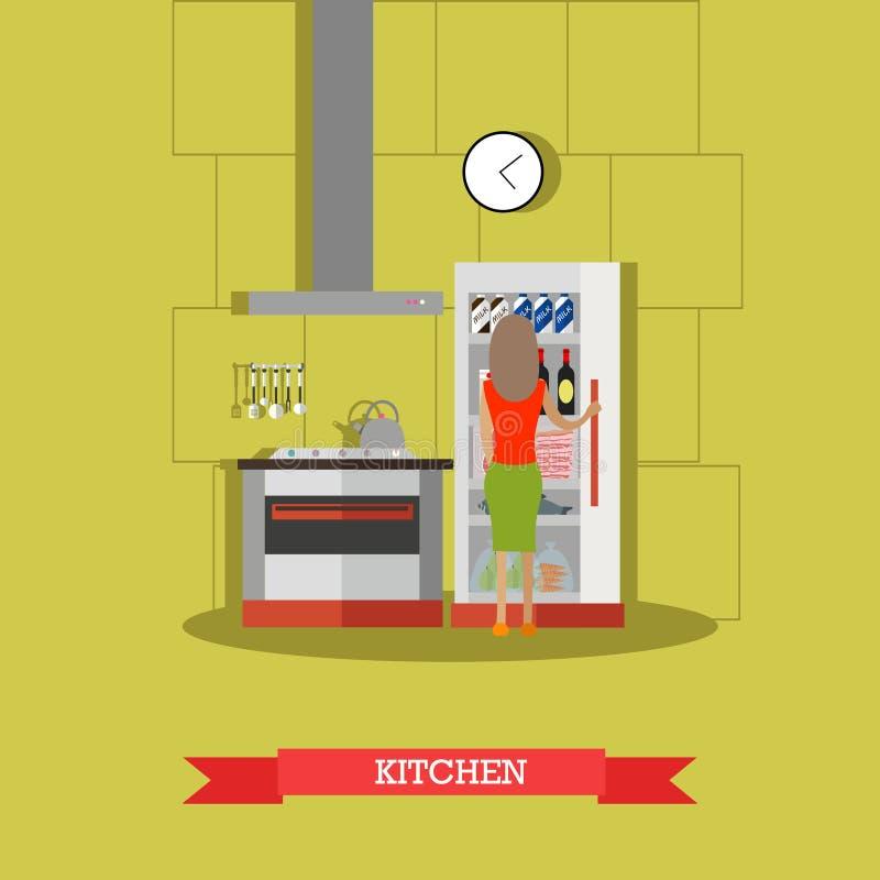 Ejemplo del vector de la cocina en estilo plano libre illustration