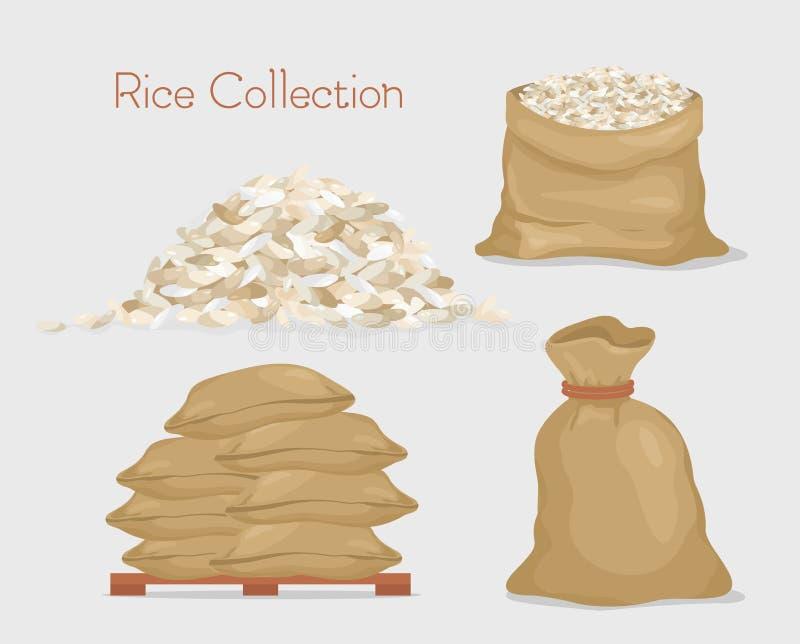 Ejemplo del vector de la colección del arroz Bolsos con el arroz, paquete, granos del arroz aislados en el fondo gris del color a ilustración del vector
