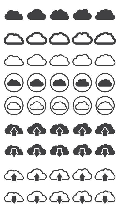 Ejemplo del vector de la colección de las nubes ilustración del vector