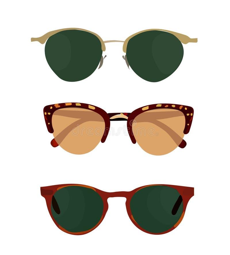Ejemplo del vector de la colección de las gafas de sol vidrios del verano del sol Complemento stock de ilustración