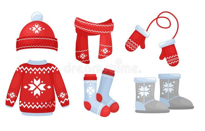 Ejemplo del vector de la colección de la ropa del invierno en colores brillantes Sombrero y bufanda hechos punto, calcetines, gua libre illustration
