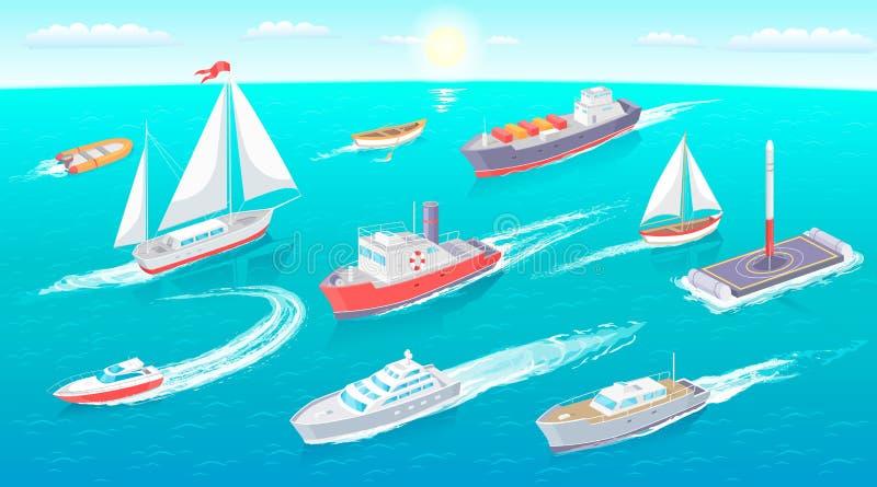 Ejemplo del vector de la colección del transporte del agua stock de ilustración