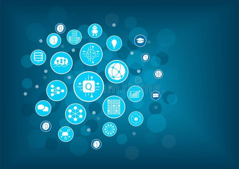 Ejemplo del vector de la computación de Quantum como ejemplo para la innovación digital Iconos dispuestos como bombilla stock de ilustración