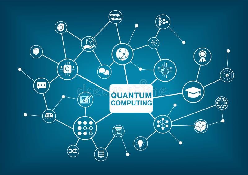 Ejemplo del vector de la computación de Quantum en fondo azul marino libre illustration