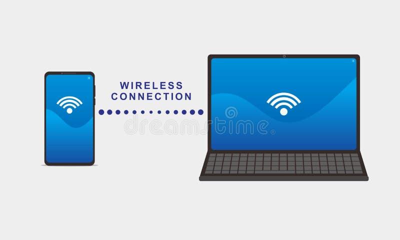 Ejemplo del vector de la conexión entre el smartphone y el ordenador portátil ilustración del vector