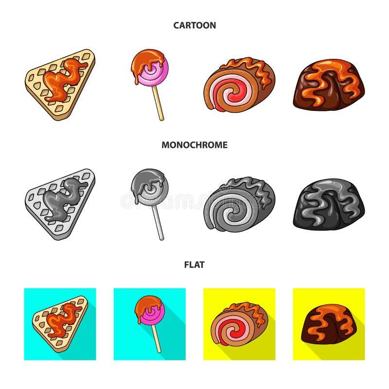 Ejemplo del vector de la confitería y del icono culinario Colección de icono del vector de la confitería y del producto para la a ilustración del vector