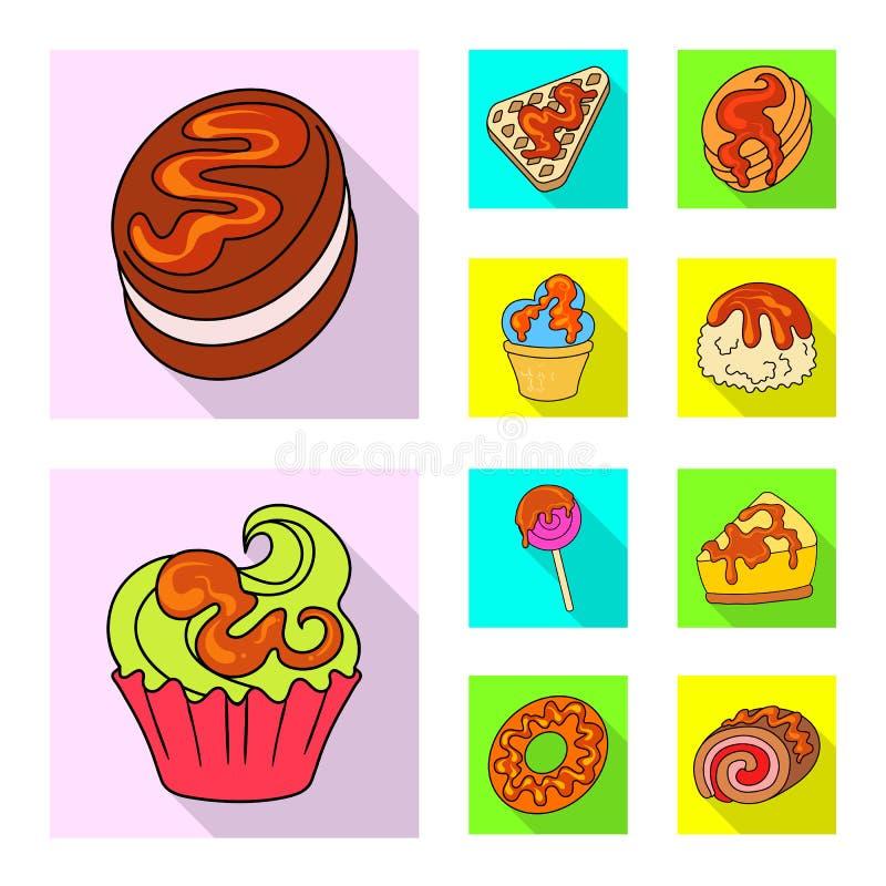 Ejemplo del vector de la confitería y del icono culinario Colección de confitería y de símbolo común colorido para la web libre illustration