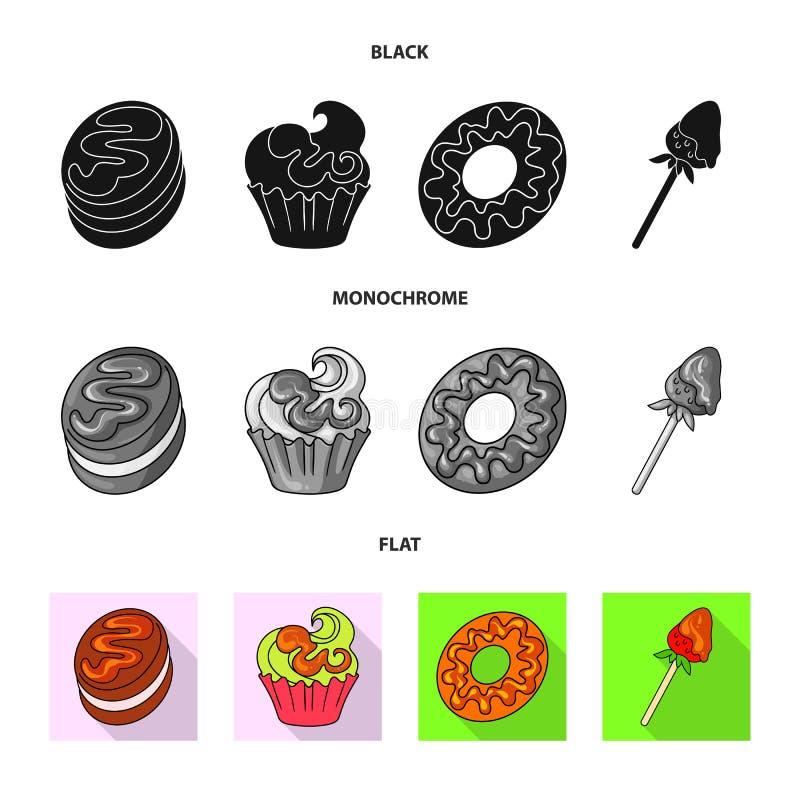 Ejemplo del vector de la confitería y del icono culinario Fije del icono del vector de la confitería y del producto para la acció libre illustration