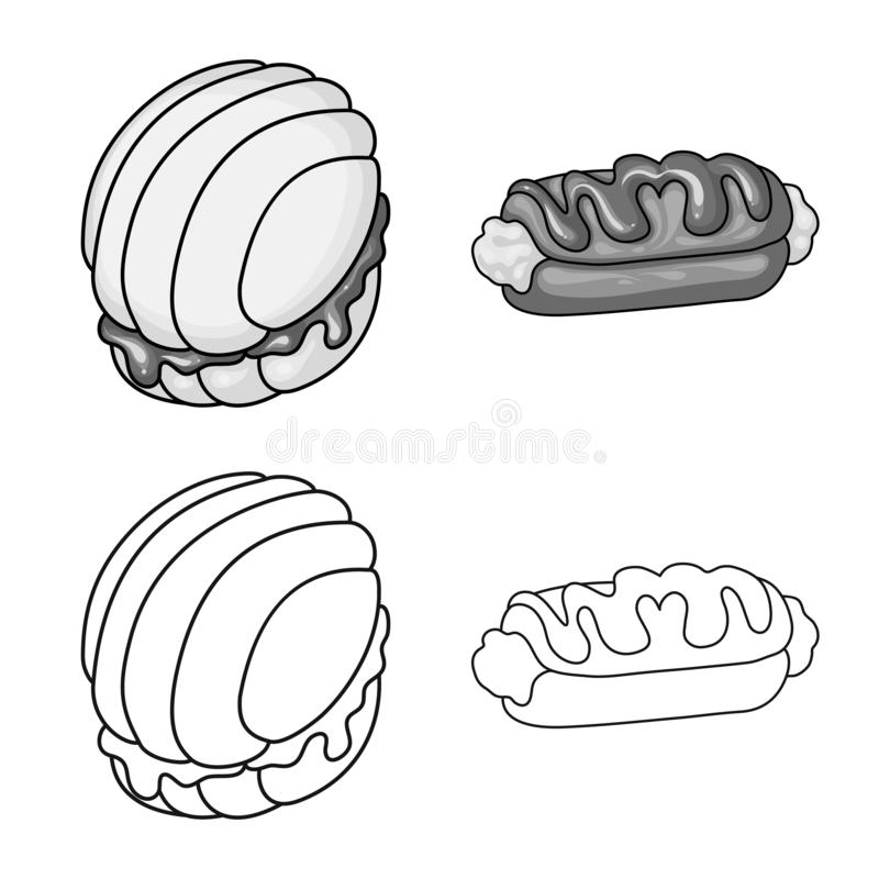 Ejemplo del vector de la confitería y del logotipo culinario Fije del símbolo común de la confitería y del producto para la web ilustración del vector