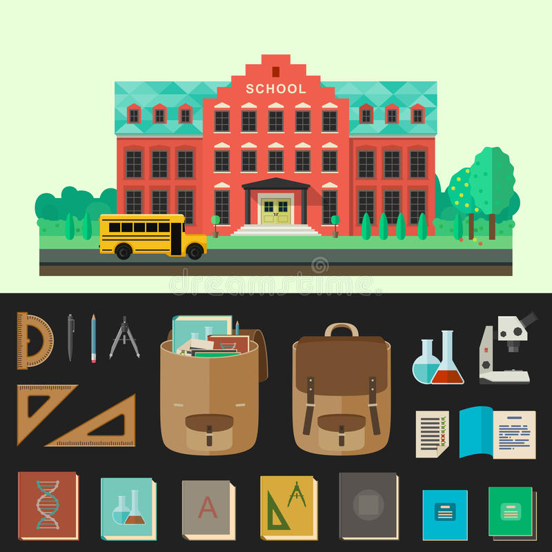 Ejemplo del vector de la construcción de escuelas con los iconos de la educación ilustración del vector