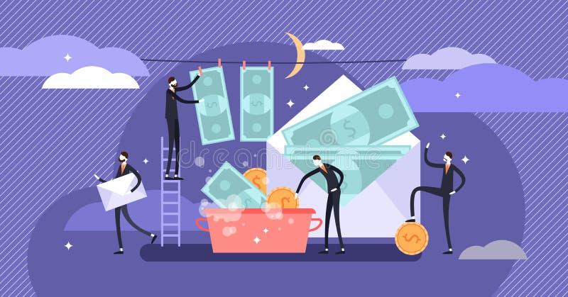 Ejemplo del vector de la corrupción Concepto minúsculo plano del blanqueo de dinero de las personas stock de ilustración