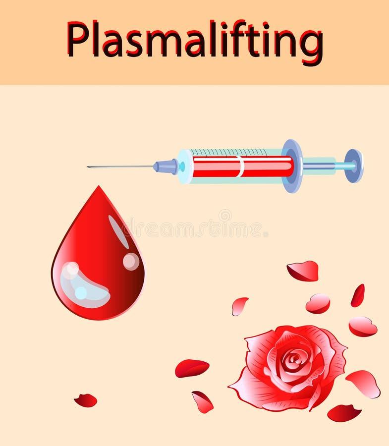 Ejemplo del vector de la cosmetología Descenso hermoso de la rosa y de la sangre, inyección del plasma e inyector de elevación ilustración del vector