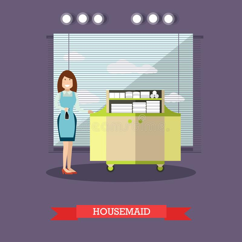 Ejemplo del vector de la criada del hotel en estilo plano stock de ilustración