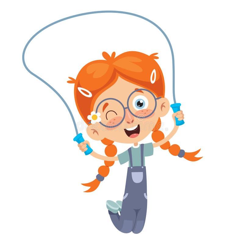 Ejemplo del vector de la cuerda que salta del niño stock de ilustración
