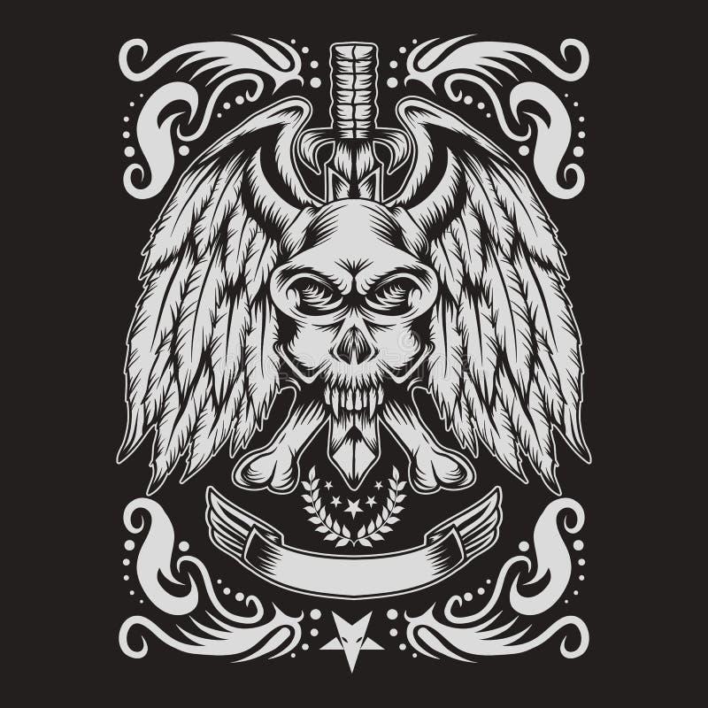 Ejemplo del vector de la decoración del monstruo del cráneo ilustración del vector