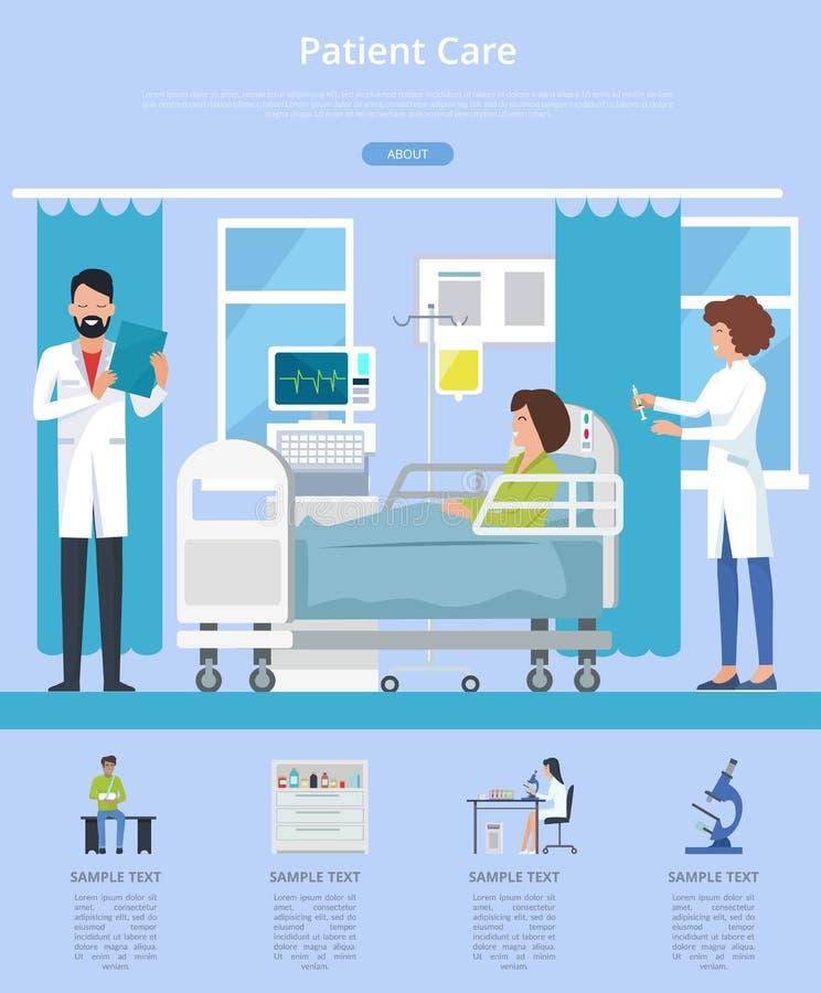 Ejemplo del vector de la descripción de la atención a los pacientes stock de ilustración