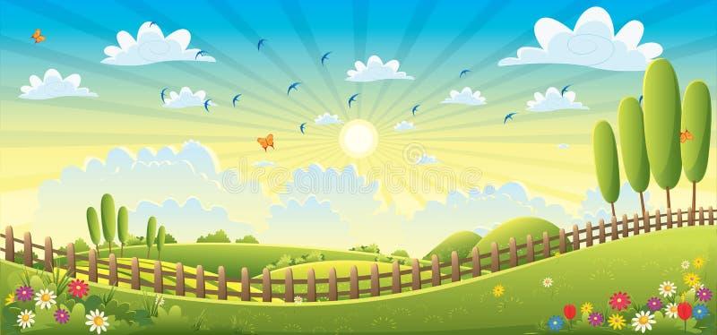 Ejemplo del vector de la escena del paisaje foto de archivo libre de regalías