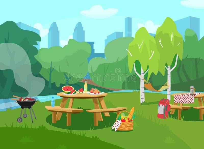 Ejemplo del vector de la escena del parque en ciudad con las tablas con la comida y la barbacoa libre illustration
