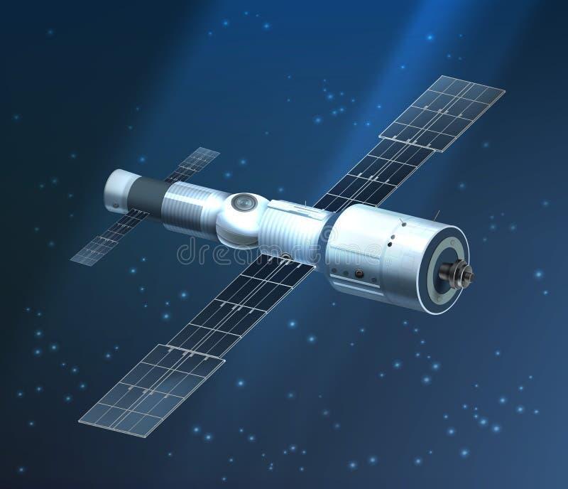 Ejemplo del vector de la estación espacial internacional que está en órbita en fondo estrellado libre illustration
