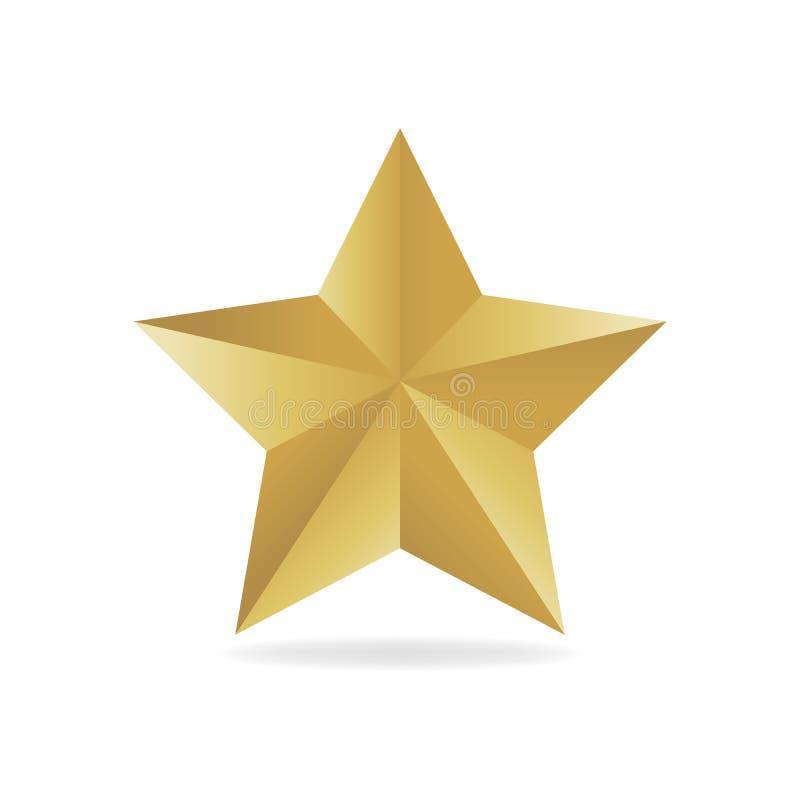 Ejemplo del vector de la estrella del metall del oro Forma del premio 3d ilustración del vector