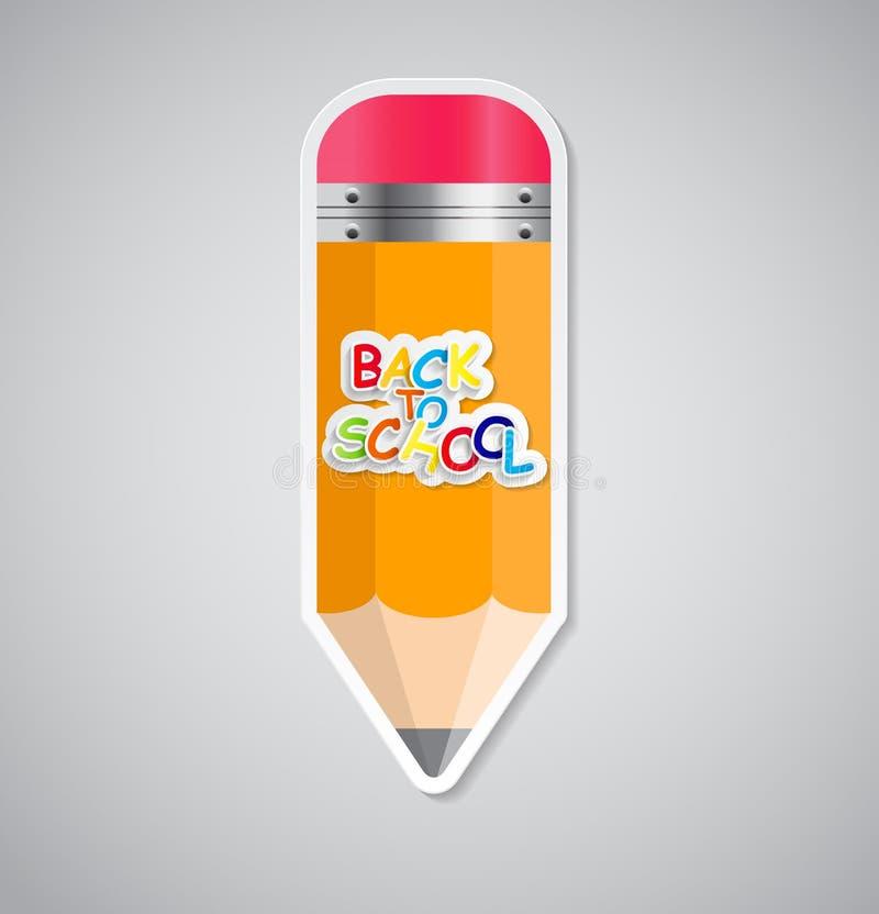Ejemplo del vector de la etiqueta de la etiqueta engomada del lápiz stock de ilustración