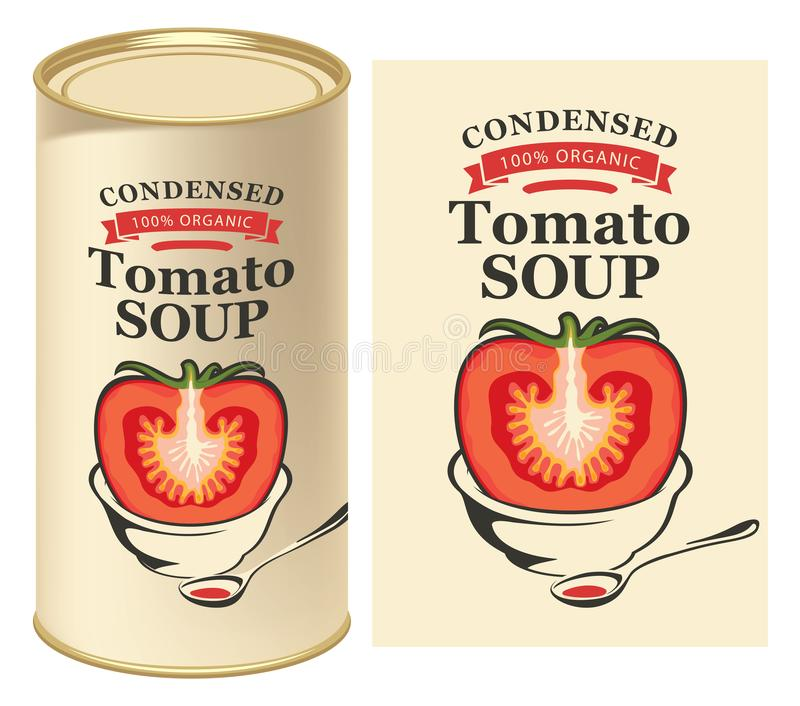 Ejemplo del vector de la etiqueta para la sopa condensada del tomate con la imagen de un tomate cortado en fondo ligero y de la l libre illustration