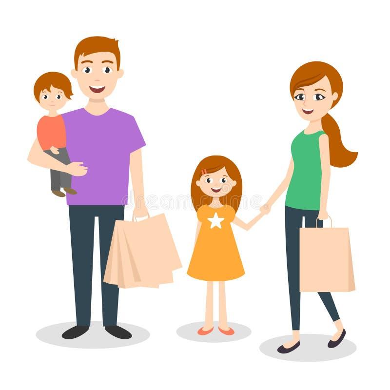 Ejemplo del vector de la familia: mamá, papá e hijo Bolsos de compras Compras de la familia con la tarjeta de crédito libre illustration
