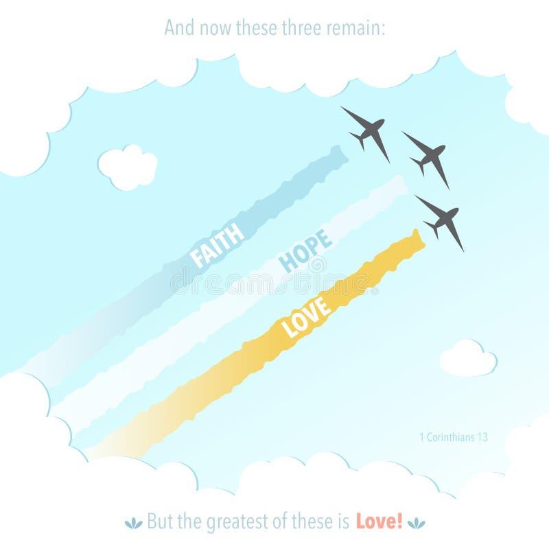 Ejemplo del vector de la fe de la esperanza de Jesus Symbol Plane Colourful Love de dios del verso de la biblia del cristianismo libre illustration
