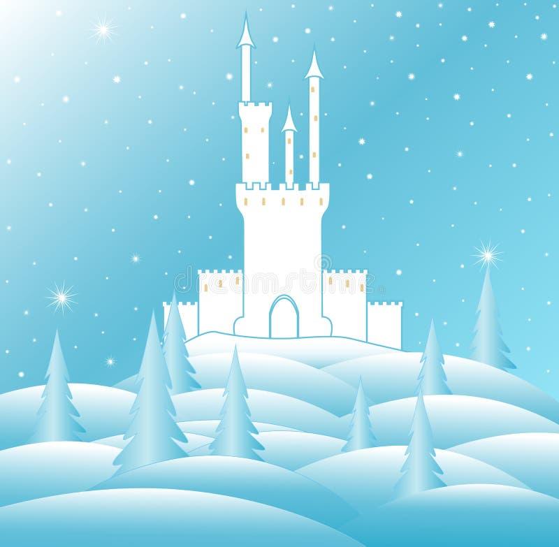 Ejemplo del vector de la Feliz Navidad con el castillo de reina de la nieve en bosque congelado del invierno libre illustration