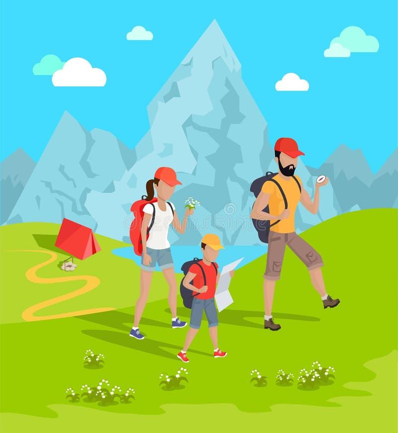 Ejemplo del vector de la flor de los viajeros y de las montañas stock de ilustración