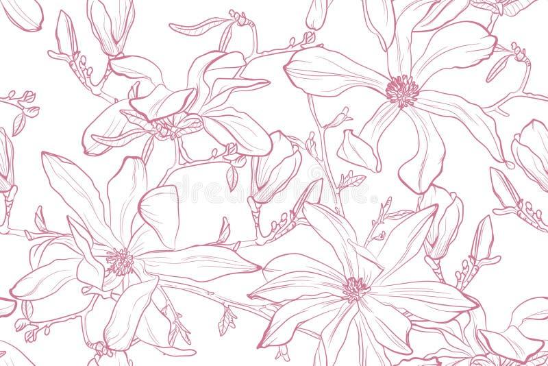 Ejemplo del vector de la flor de la magnolia Modelo inconsútil con las flores rosadas en un fondo blanco ilustración del vector