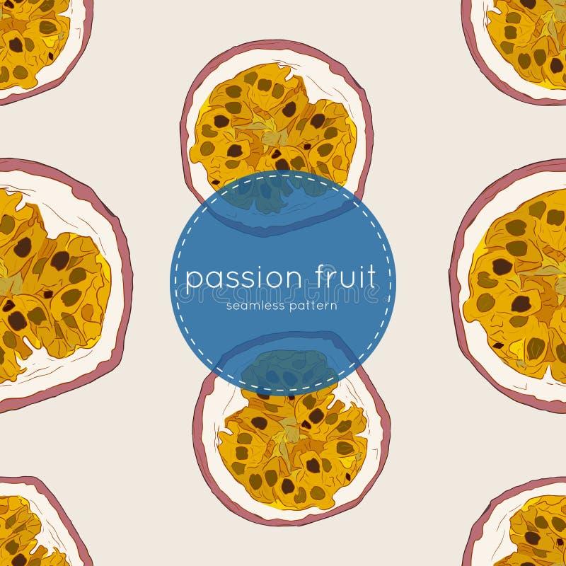 Ejemplo del vector de la fruta de la pasión, modelo inconsútil del drenaje de la mano ilustración del vector