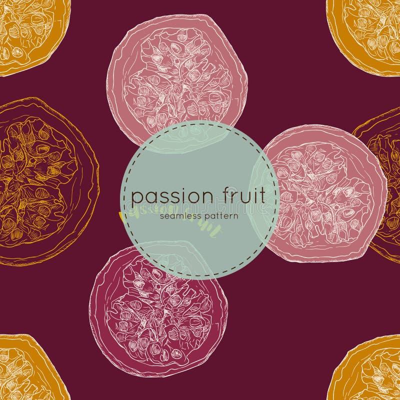 Ejemplo del vector de la fruta de la pasión, modelo inconsútil del drenaje de la mano libre illustration