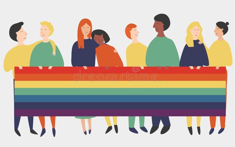 Ejemplo del vector de la gente del lgbt que sostiene una bandera del arco iris Bandera con los pares del homosexual y lesbiana co stock de ilustración