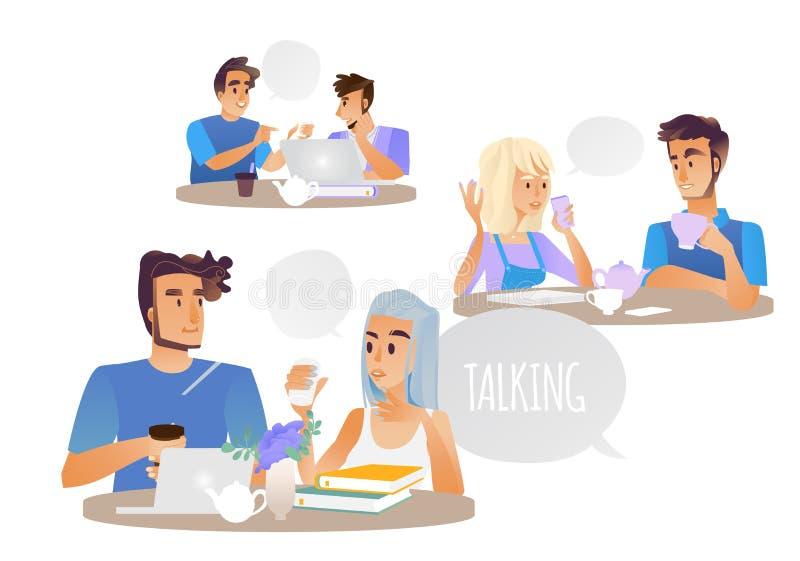 Ejemplo del vector de la gente que habla fijado con la discusión del varón de la historieta y de caracteres femeninos ilustración del vector