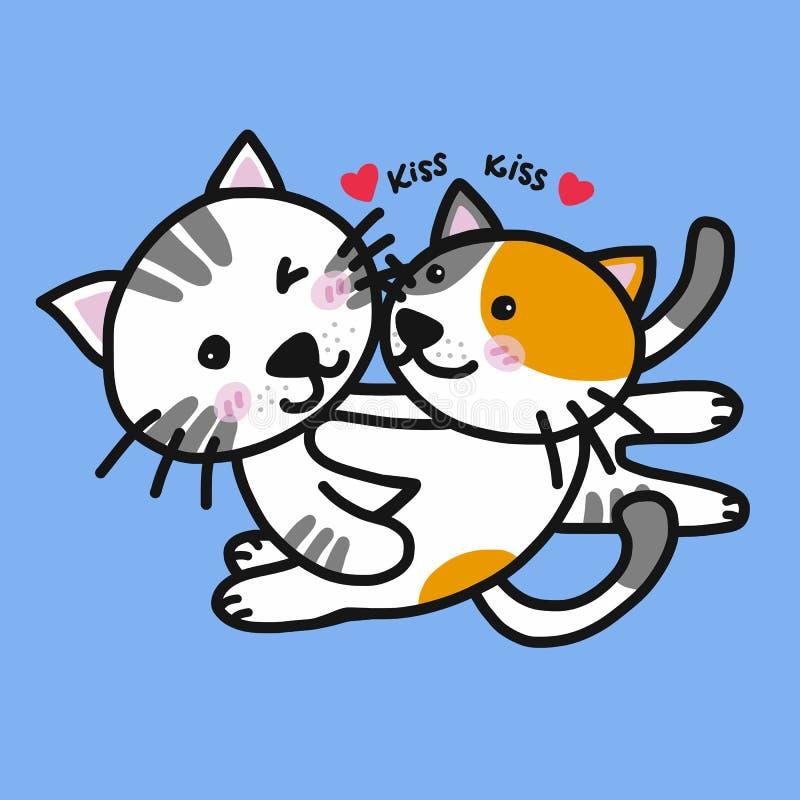 Ejemplo del vector de la historieta del amante lindo de los gatos que se besa stock de ilustración
