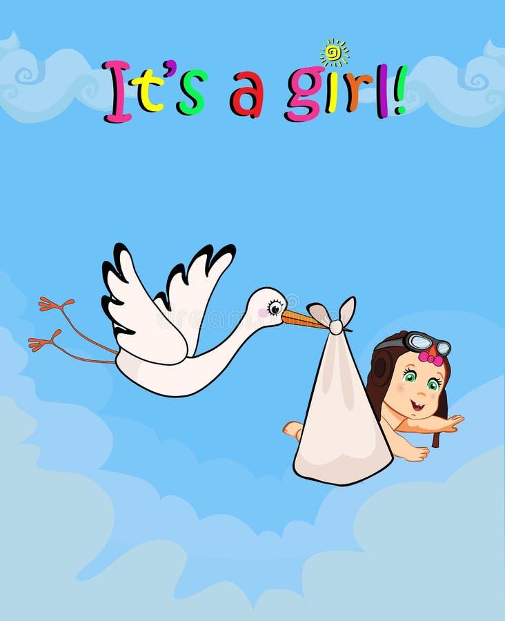 Ejemplo del vector de la historieta con la cigüeña que lleva al bebé lindo stock de ilustración