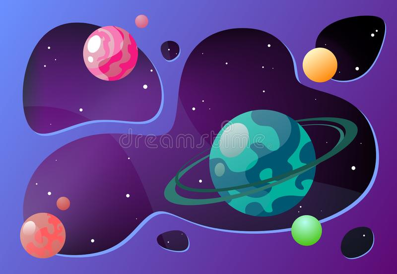 Ejemplo del vector de la historieta con el espacio libre Espacio exterior del fondo del vector stock de ilustración