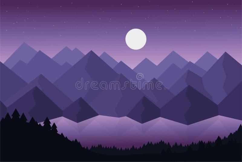 Ejemplo del vector de la historieta del paisaje de la montaña con el lago o el río detrás de bosques densos debajo del cielo viol libre illustration