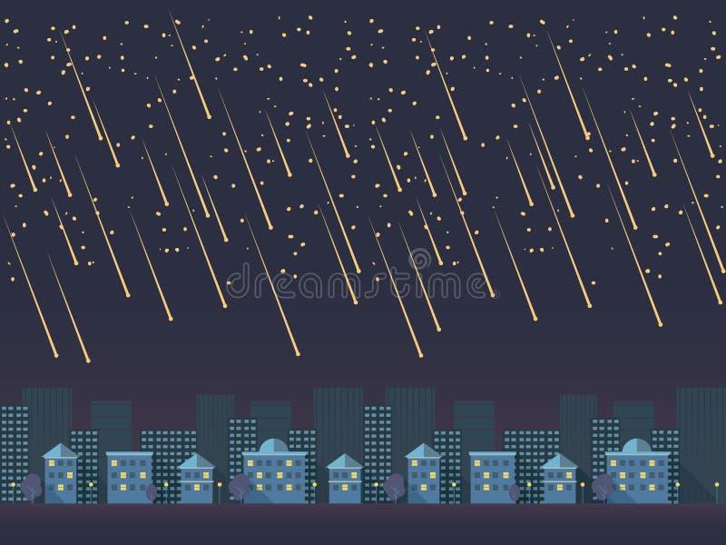 Ejemplo del vector de la historieta del paisaje urbano de la noche en diseño material plano moderno stock de ilustración