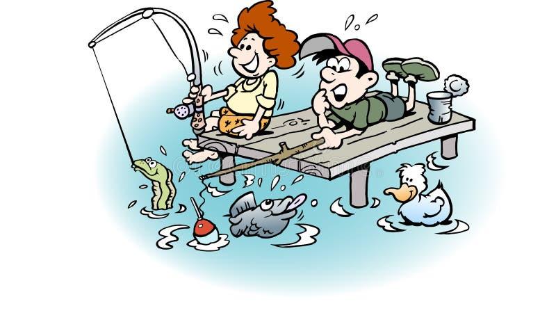 Ejemplo del vector de la historieta de dos muchachos en viaje de pesca libre illustration
