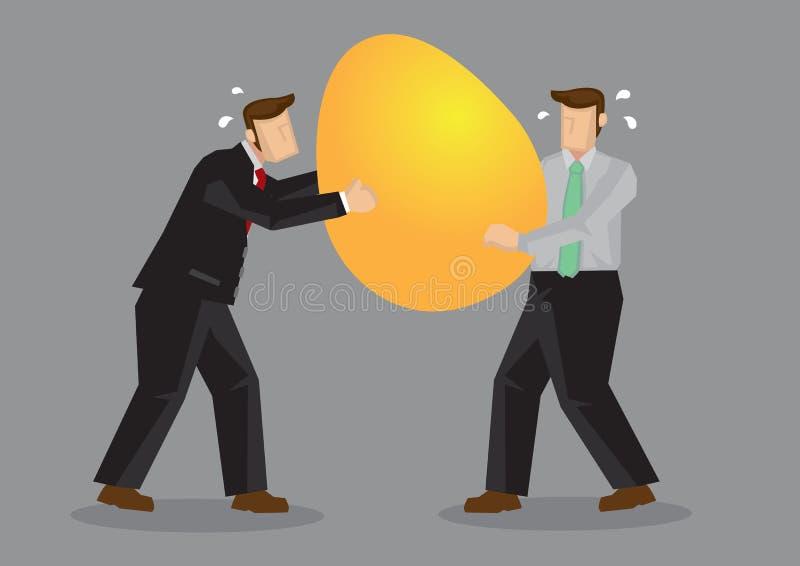 Ejemplo del vector de la historieta del huevo de Fighting Over Golden del hombre de negocios stock de ilustración